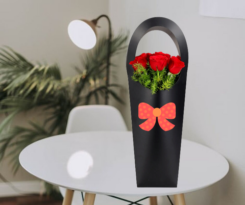F12 Red Roses in Stylish Black Sleeve