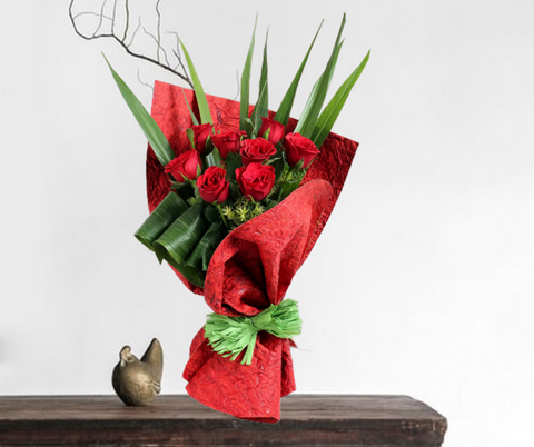 Blooming Red Roses Bunch (8 Red Rose)