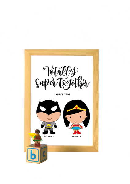 Superhero Couple Personalized A4 Print (with frame)