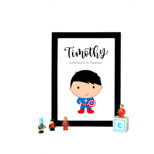 Captain America Personalized A4 Print (with Frame)