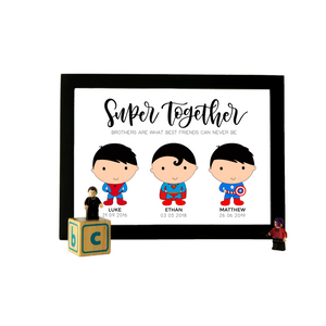 Superhero Trio Personalized A4 Print (with Frame)