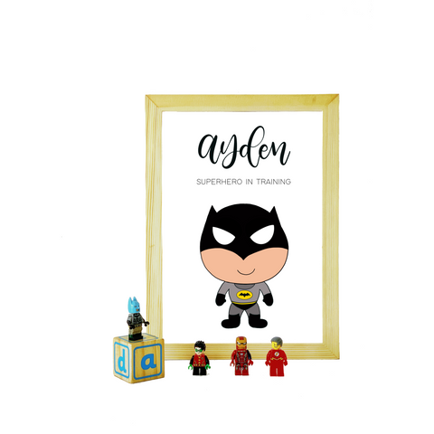 Bat Boy Personalized Print (A4) with Frame