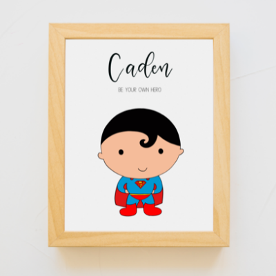 Super Boy Personalized A4 Print (with Frame)