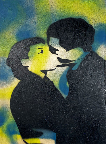 ARMANDO CHAINSAWHANDS 'The Kiss' (blue) Spray/Stencil on Wood
