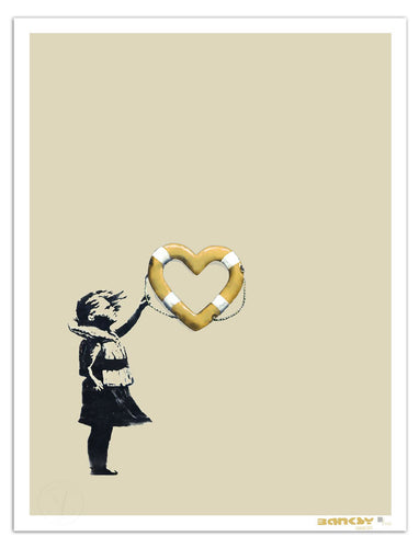 BANKSY x Post Modern Vandal 'Girl w/ Heart Shaped Float' (gold) Screen Print
