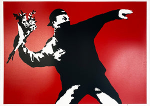 BANKSY (after) 'Love is in the Air' (red) Screen Print (99)