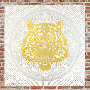 CHRIS SAUNDERS 'White Tiger Mandala' Screen Print - Signari Gallery