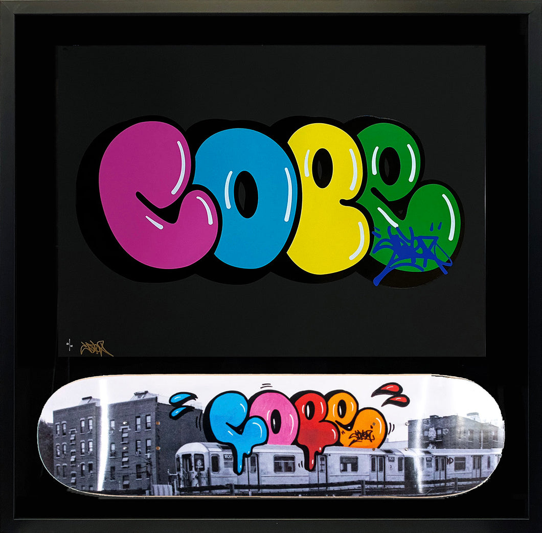 COPE2 'Iconic Bubble' Screen Print + Skateboard Deck Framed
