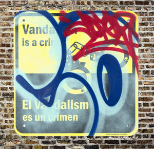 COPE2 'Vandalism es un Crimen' Original on Street Sign