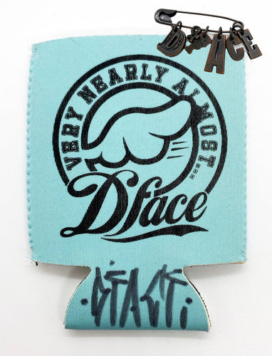 D*FACE 'Very Nearly Almost' Hand-Signed KOOZIE + Vintage Badge