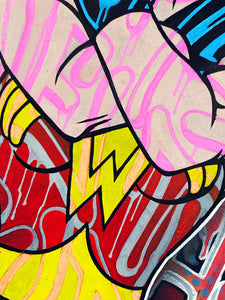 DOPEDOUT M 'Wonder Woman: Only Love...' Original on Canvas