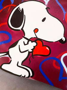 DVERSO 'Sad Balloon Girl' (w/Snoopy) Original on Canvas