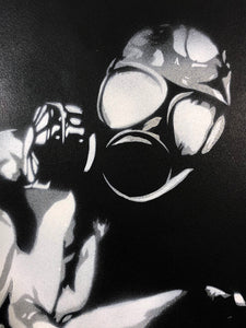 EYESAW 'Golem in Gas Mask' HPM on Paper Framed - Signari Gallery