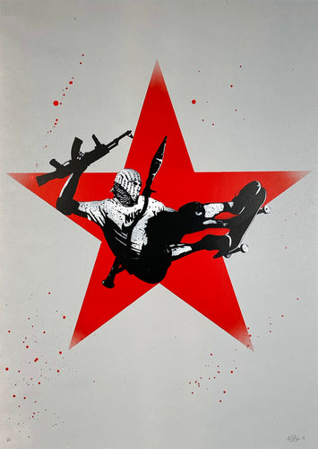 FAKE 'Big Air' (red star) HPM Spray Paint on Paper