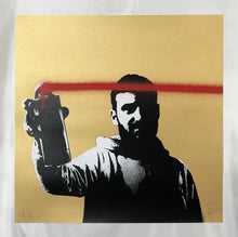 Load image into Gallery viewer, FAKE 'Spray Your Screen' (met. gold) Hand-Finished Print - Signari Gallery