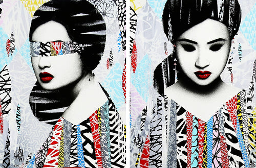 HUSH 'Faces I/II' Hand-Painted Screen Print SET - Signari Gallery