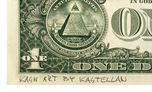 KASH ART 'False God' Original HPM on Currency