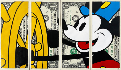 KASH ART 'Steamboat Mickey' (color) Original HPM on Currency