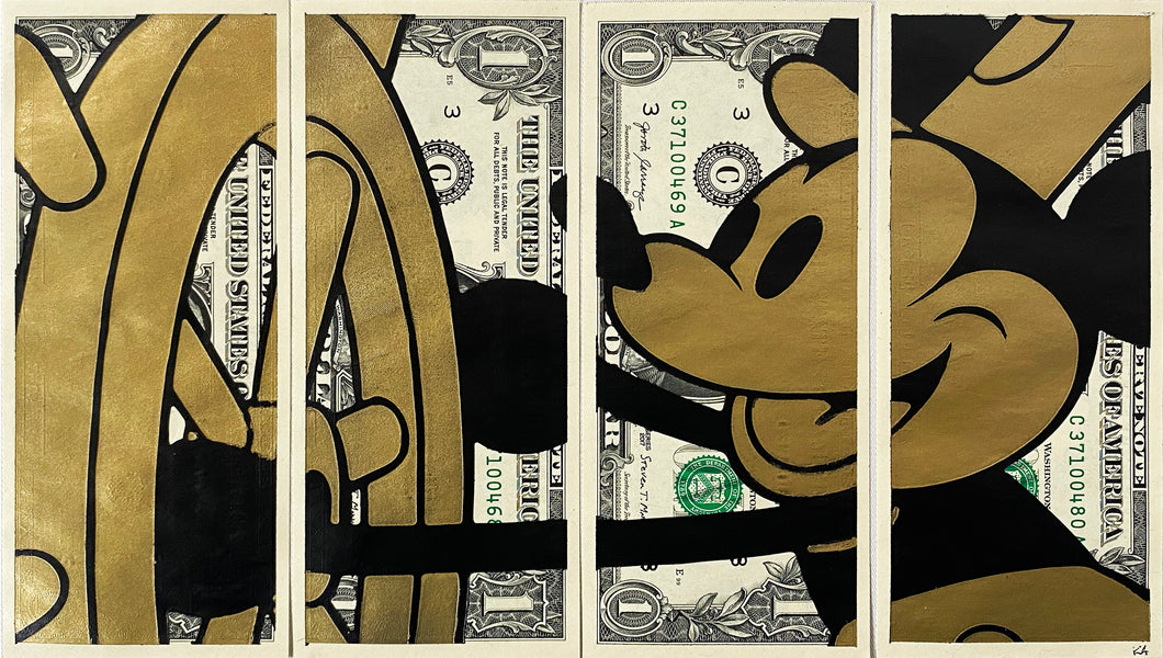 KASH ART 'Steamboat Mickey' (gold) Original HPM on Currency