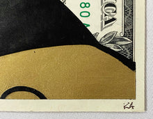 Load image into Gallery viewer, KASH ART 'Steamboat Mickey' (gold) Original HPM on Currency