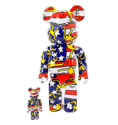 KEITH HARING x Be@rbrick 'American Flag' Art Figure Set