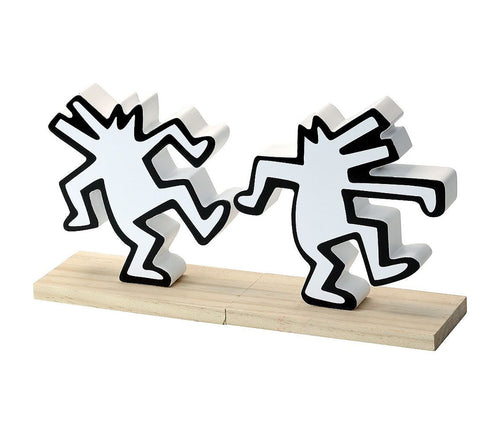 KEITH HARING 'Dancing Dogs' (white) Hard Wood Bookends