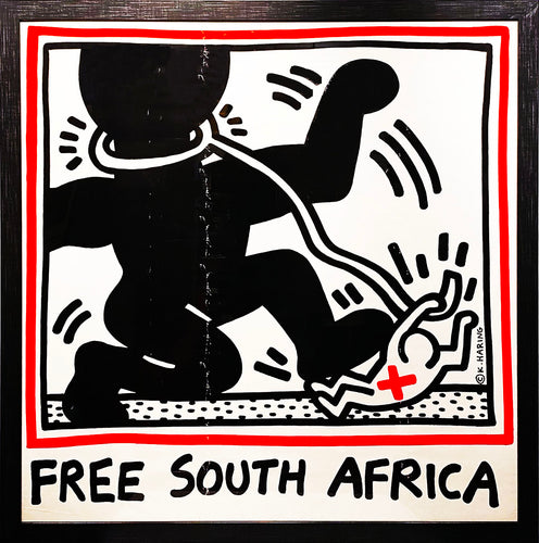 KEITH HARING 'Free South Africa' Original Lithograph Print Framed - Signari Gallery