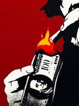 Load image into Gallery viewer, KUNSTRASEN 'Burn Capitalism, Burn' (red) Screen Print - Signari Gallery