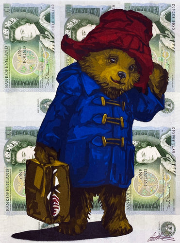 LEE HENDERSON 'Paddington Bear' Original on UK Currency