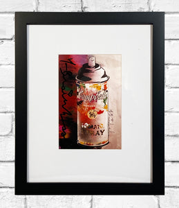 MR. BRAINWASH 'Campbell's Spray (collage)' Hand-Signed Postcard Framed