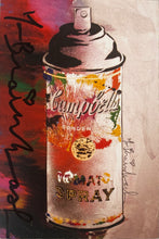 Load image into Gallery viewer, MR. BRAINWASH 'Campbell's Spray (collage)' Hand-Signed Postcard Framed