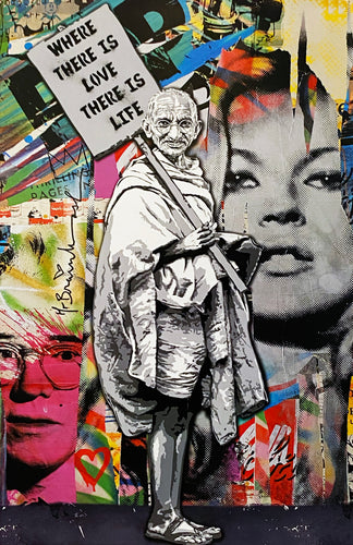 MR. BRAINWASH 'Gandhi: Where There is Love...' Offset Lithograph