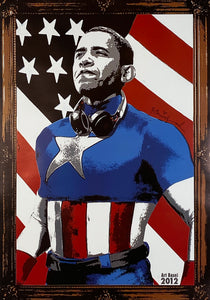 MR. BRAINWASH 'Obama Captain America' Offset Lithograph