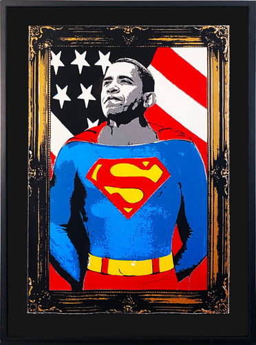 MR. BRAINWASH 'Obama Superman' (gold) Screen Print Framed