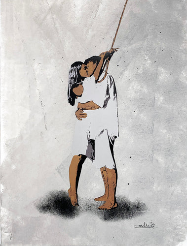NAFIR 'Last Kiss' Hand-Painted Screen Print