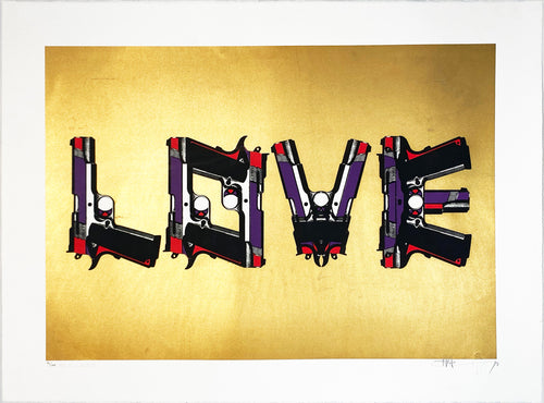 PAUL INSECT 'Love Guns on Gold' Screen Print