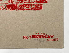 Load image into Gallery viewer, THE REAL NOT BANKSY FRONT 'Like the Real Thing but Worthless' Screen Print (2) - Signari Gallery