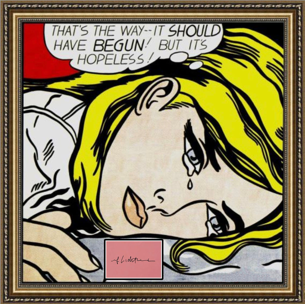 ROY LICHTENSTEIN 'Hopeless' Screen Print + Original Signature Framed - Signari Gallery