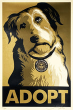 Load image into Gallery viewer, SHEPARD FAIREY 'Adopt' (gold) Screen Print (372)