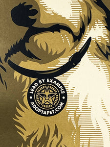 SHEPARD FAIREY 'Adopt' (gold) Screen Print (372)