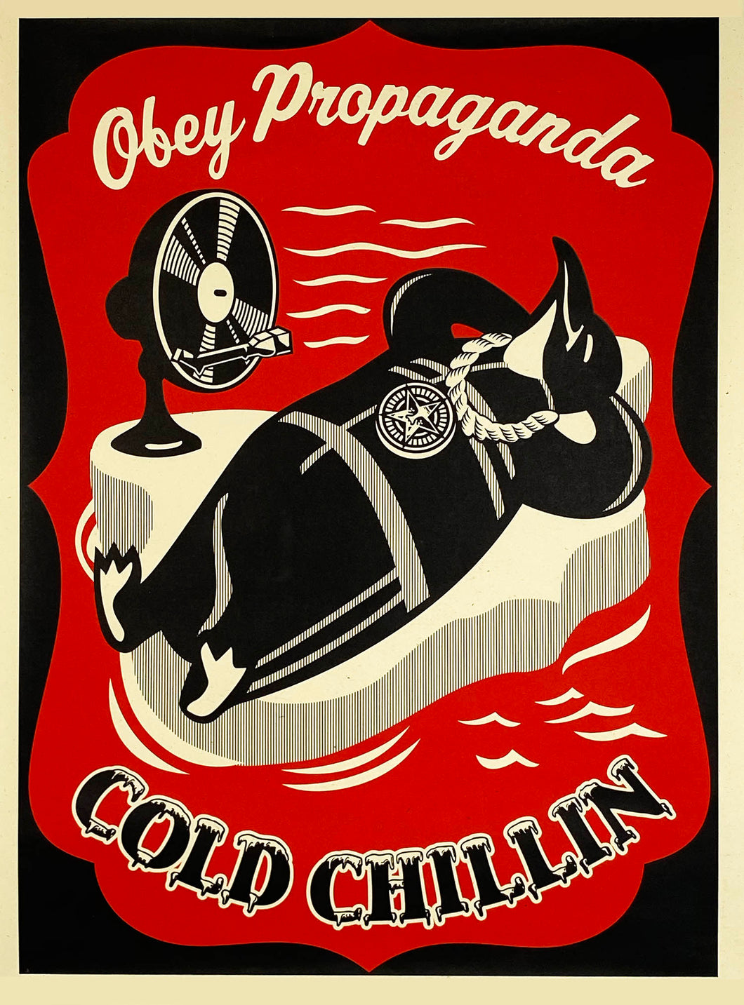 SHEPARD FAIREY 'Cold Chillin'' (red) Paster Print