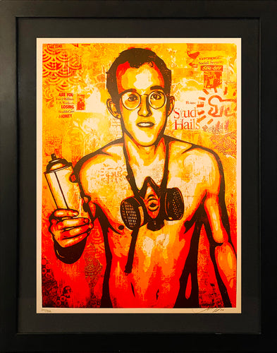 SHEPARD FAIREY 'Keith Haring Canvas' Screen Print Framed