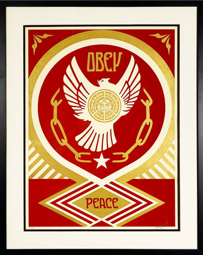 SHEPARD FAIREY 'Peace & Freedom Dove Gift' Screen Print Framed