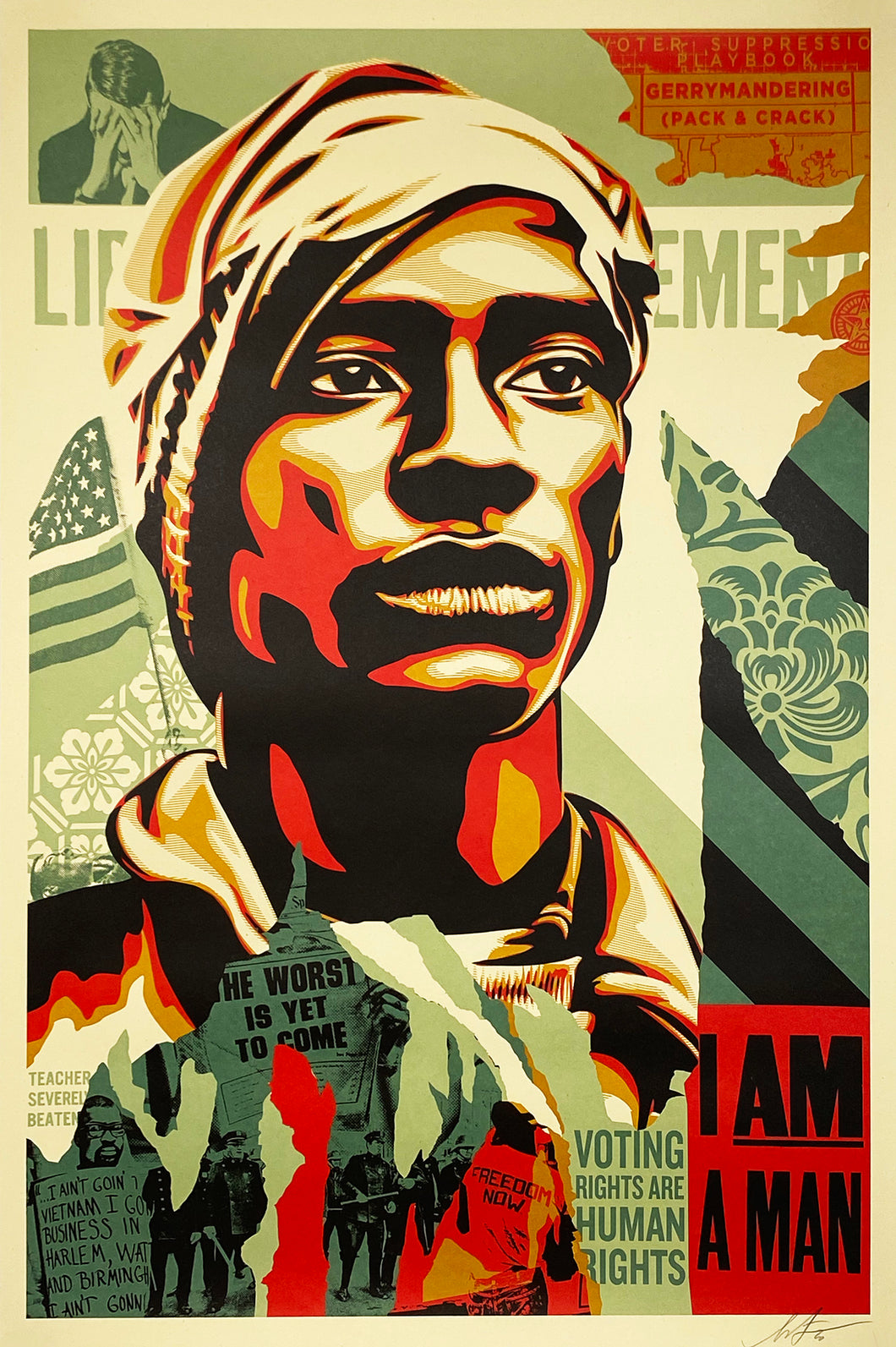 SHEPARD FAIREY 'Voting Rights are Human Rights' Offset Litho