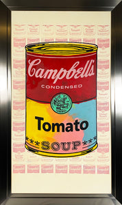 STEVE KAUFMAN 'Campbell's Tomato Soup' HPM on Canvas Framed