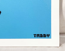 Load image into Gallery viewer, TABBY 'The Sound of Uzis' (blue) HPM on Canvas Panel