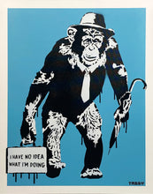 Load image into Gallery viewer, TABBY 'Working Chimp - No Idea' (blue) HPM on Canvas Panel
