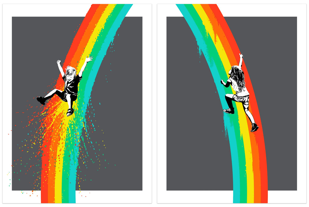 UBIK 'The Climb (Diptych)' (grey) Screen Print Set