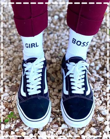Chaussettes blanches Girl Boss