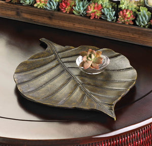 Avery Leaf Metal Decorative Tray